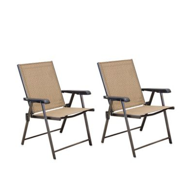 Hawthorne Folding Sling Chairs in Tan (Set of 2)