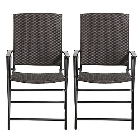 Brushed Wicker Folding Chairs Set Of 2 Bed Bath Amp Beyond