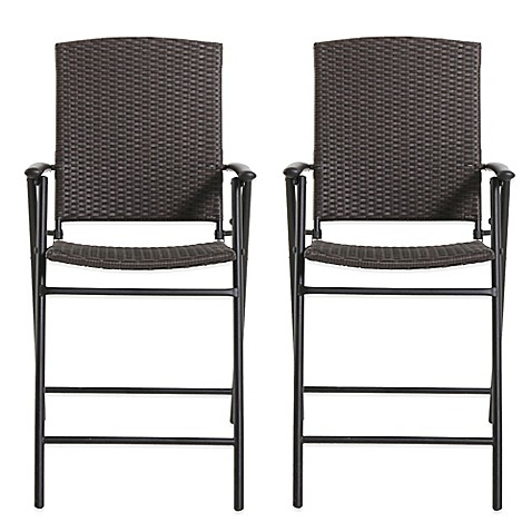 Brushed Wicker Folding Balcony Chairs Set Of 2 Bed
