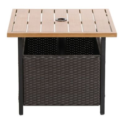 Brushed Wicker Umbrella Side Table