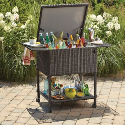 Brushed Wicker Cooling Bar Cart