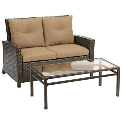 Barrington 2-Piece Wicker Loveseat Set in Tan