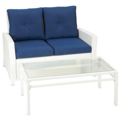 Barrington 2-Piece Wicker Loveseat Set in Blue