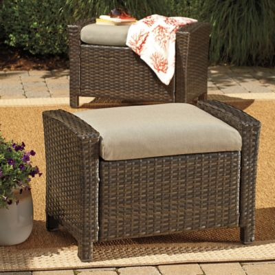 Barrington Wicker Ottoman in Sand (Set of 2)