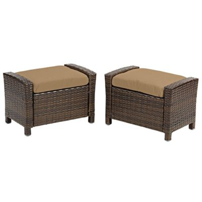 Barrington Wicker Ottoman in Tan (Set of 2)