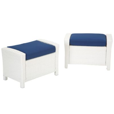 Barrington Wicker Ottoman in Blue (Set of 2)