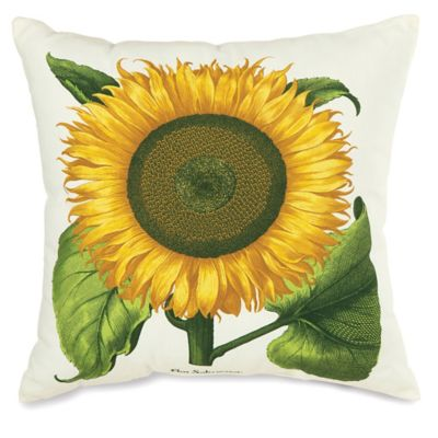 Sunflower Print Square Outdoor Throw Pillow