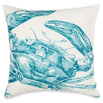 Blue Crab Print Square Outdoor Throw Pillow