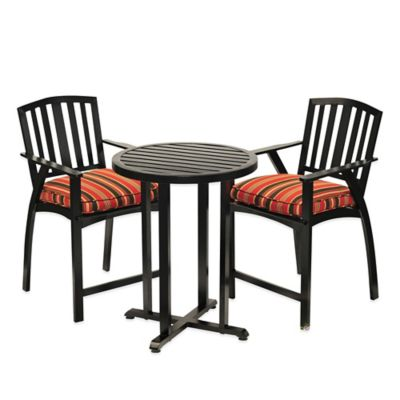 Excelsior 3-Piece Steel Compact Patio Bistro Set in Black