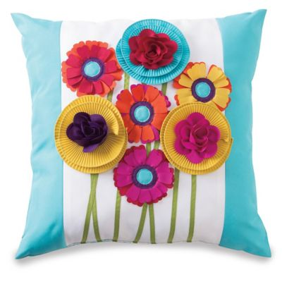 Embellished Floral Bouquet Outdoor Throw Pillow