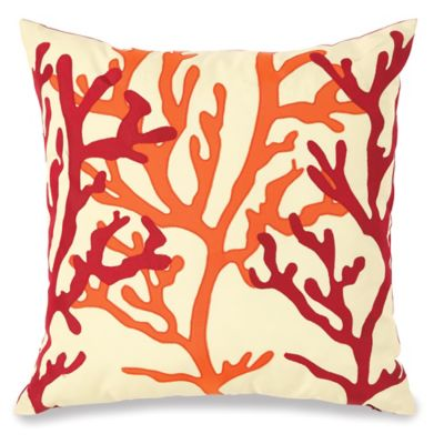 Embellished Fan Coral Outdoor Throw Pillow