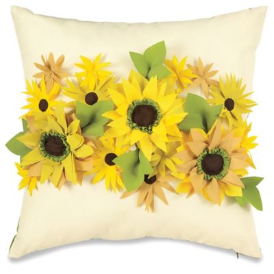 Embellished Sunflower Outdoor Throw Pillow