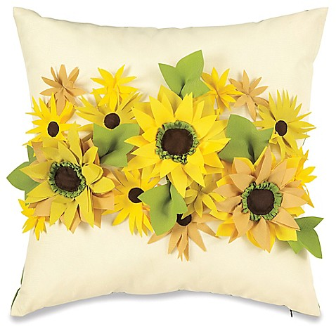 Buy Embellished Sunflower Outdoor Throw Pillow From Bed Bath Amp Beyond