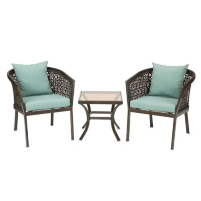 Levine 3-Piece Wicker Chair Set in Mist