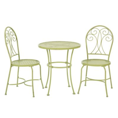 Stamped Metal 3-Piece Bistro Set in Green