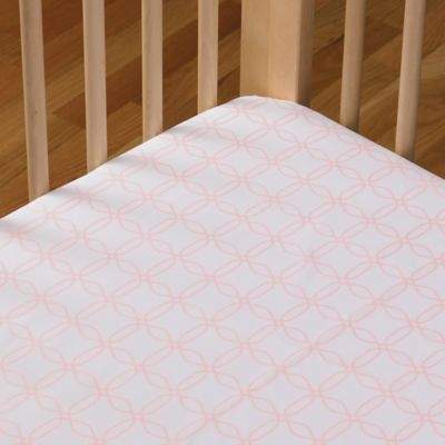 Living Textiles Baby Mix & Match Poplin Fitted Crib Sheet in Pink Links