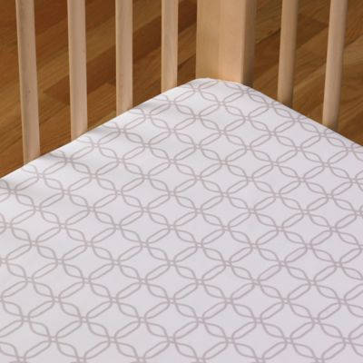 Living Textiles Baby Mix & Match Poplin Fitted Crib Sheet in Grey Links