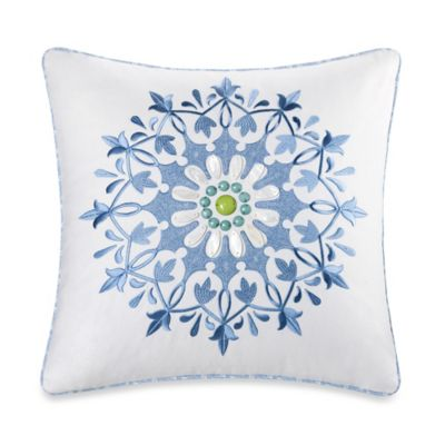 Echo Design™ Sardinia Embroidered Square Throw Pillow in White