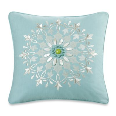 Echo Design™ Sardinia Embroidered Square Throw Pillow in Aqua
