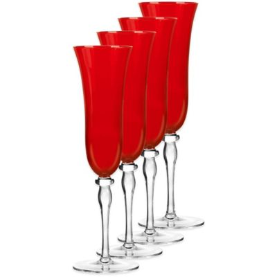 Qualia Rouge Red Champagne Flute Glasses (Set of 4)