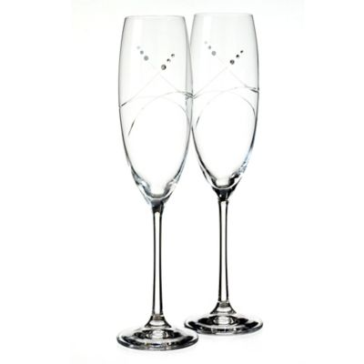 Oleg Cassini Tiara Toasting Flutes (Set of 2)