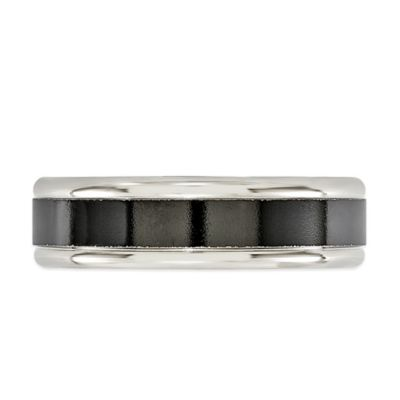 Edward Mirell Silvertone and Black Titanium Edges Size 7 Men's Band