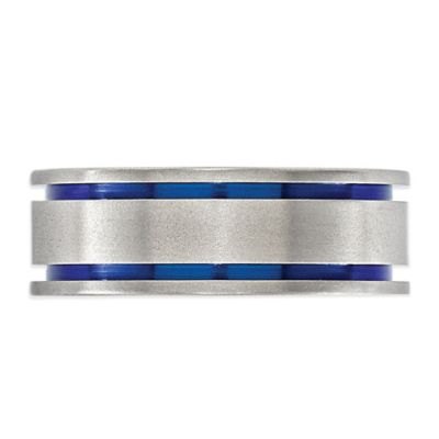 Edward Mirell Anodized Titanium Double-Grooved Size 8 Men's Band