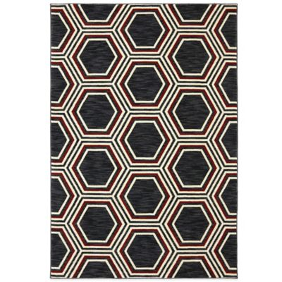 5 6 Black Area Rug Multi
