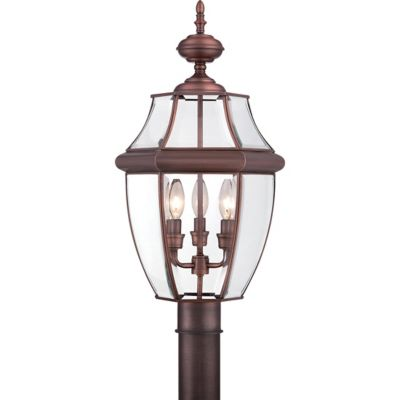 Quoizel Newbury Outdoor 4-Light Post Lantern in Antique Copper