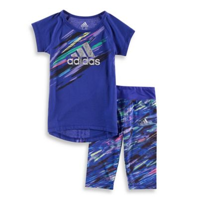 adidas® Size 6M 2-Piece Short Sleeve Top and Legging Set in Purple/Multi