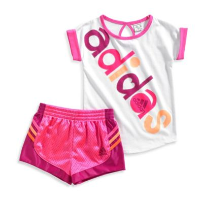 adidas® Size 9M Short Sleeve Top and Short Set in White/Pink