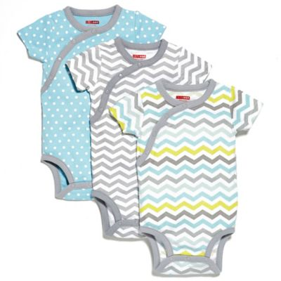 SKIP*HOP® Size 0-3M 3-Pack Side Snap Short Sleeve Print Bodysuit in Blue/Grey