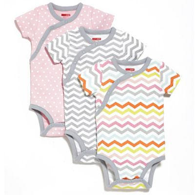 SKIP*HOP® Newborn 3-Pack Side Snap Short Sleeve Print Bodysuits in Pink/Grey