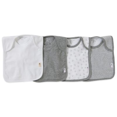 Burt's Bees Baby™ Bee Essentials 4-Pack Organic Cotton Lap-Shoulder Bibs in Grey