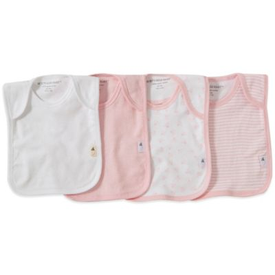 Burt's Bees Baby™ Bee Essentials 4-Pack Organic Cotton Lap-Shoulder Bibs in Pink