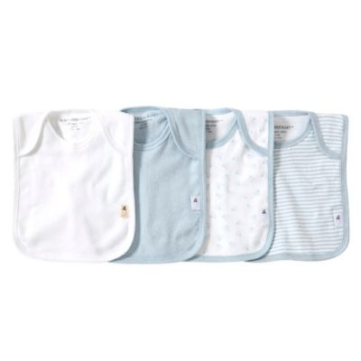Burt's Bees Baby™ Bee Essentials 4-Pack Organic Cotton Lap-Shoulder Bibs in Sky