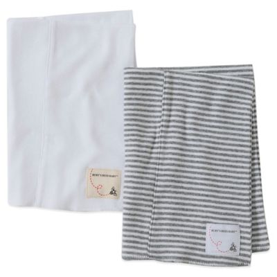 Burt's Bees Baby® 2-Pack Organic Cotton Burp Cloths in Cloud/Grey Stripe