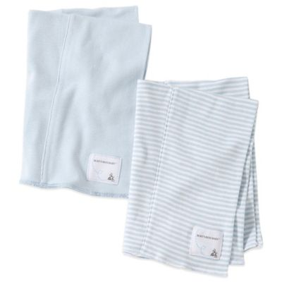 Burt's Bees Baby™ 2-Pack Organic Cotton Burp Cloths in Sky/Stripe