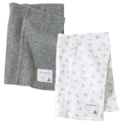Burt's Bees Baby® 2-Pack Organic Cotton Burp Cloths in Grey/Bee