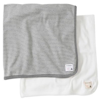 Burt's Bees Baby® 2-Pack Organic Cotton Blanket in Grey Stripe/Solid