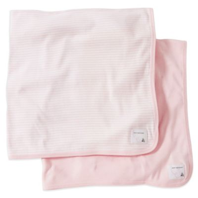 Burt's Bee's Baby 2-Pack Organic Cotton Blanket in Pink Stripe/Solid