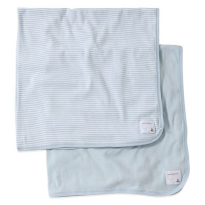 Burt's Bee's Baby 2-Pack Organic Cotton Blanket in Light Blue Stripe/Solid