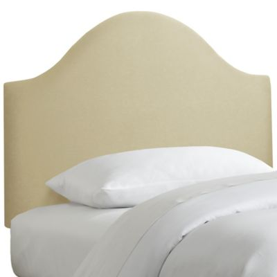 Skyline Furniture Curved Twin Headboard in Sandstone Linen