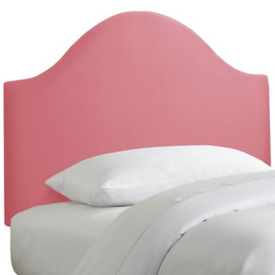 Skyline Furniture Curved Twin Headboard in Linen Coral