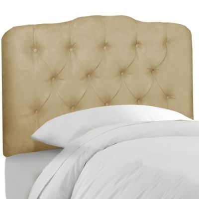 Skyline Furniture Tufted Queen Headboard in Velvet Buckwheat