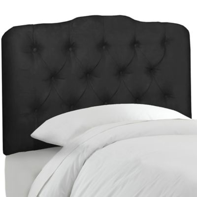 Skyline Furniture Tufted Twin Headboard in Velvet Black