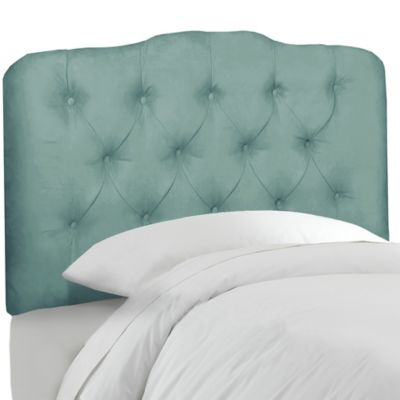 Skyline Furniture Tufted Twin Headboard in Velvet Caribbean