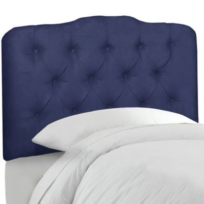 Skyline Furniture Tufted Queen Headboard in Velvet Royal
