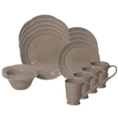 Baum Adorn 16-Piece Dinnerware Set in Stone