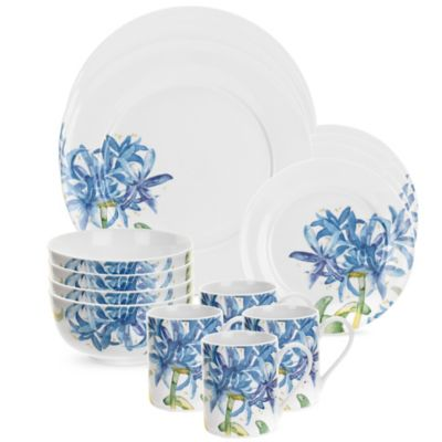 Portmeirion® Royal Worcester Essentials 16-Piece Blue Agapanthus Dinnerware Set